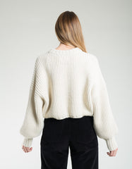 First Rite Crop Crew Sweater Natural