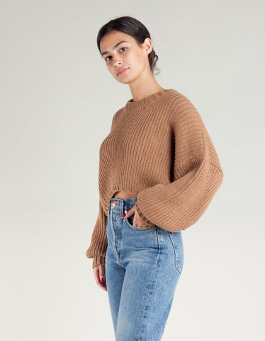 First Rite Crop Crew Sweater Camel