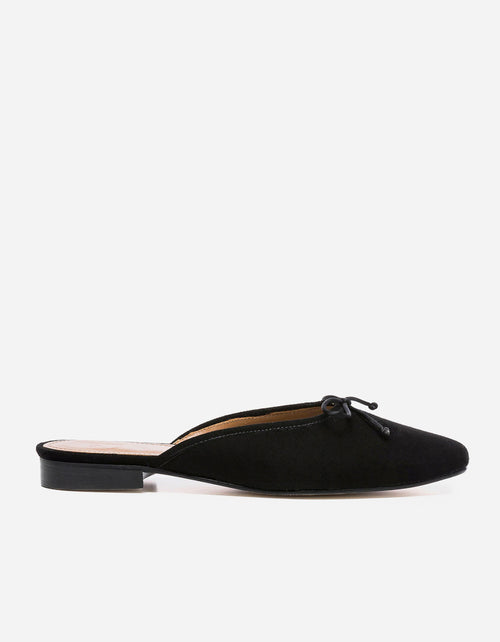 Flattered Malva Slide Black Suede