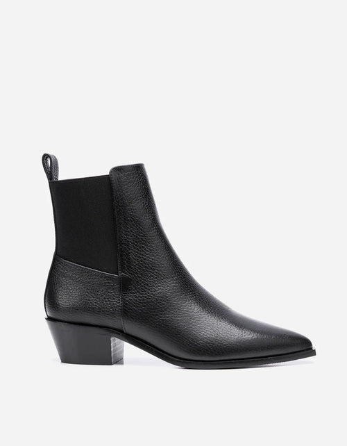 Flattered Willow Boot Black Grained Leather