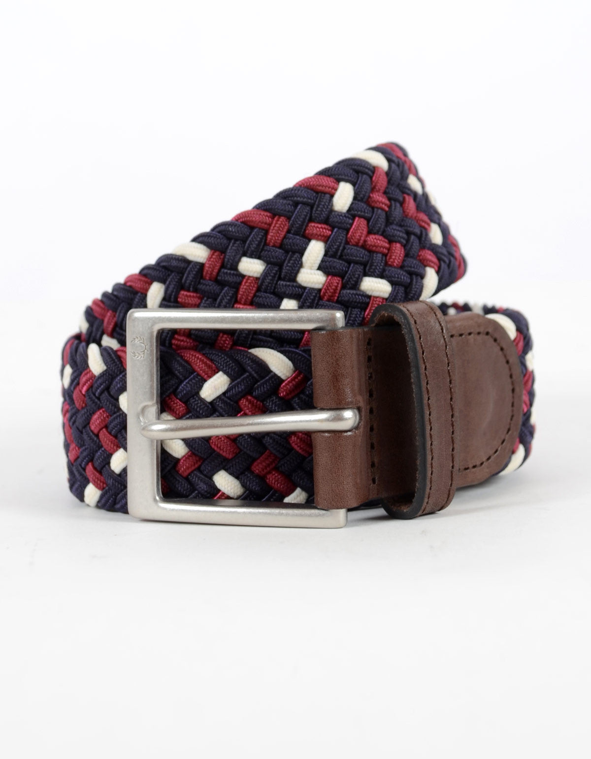 Fred Perry Flecked Woven Belt Navy Maroon Ecru - Still Life