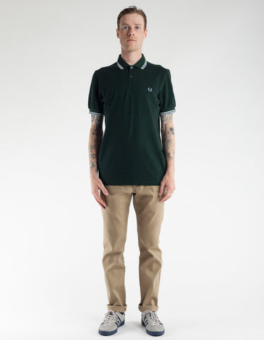 Fred Perry Slim Fit Twin Tipped Polo Black Oxford Snow White