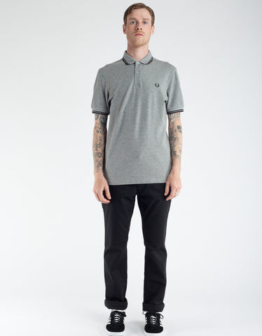 Fred Perry Slim Fit Twin Tipped Polo Steel Marl Black