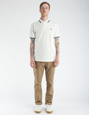 Fred Perry Slim Fit Twin Tipped Polo Snow White Carbon Blue