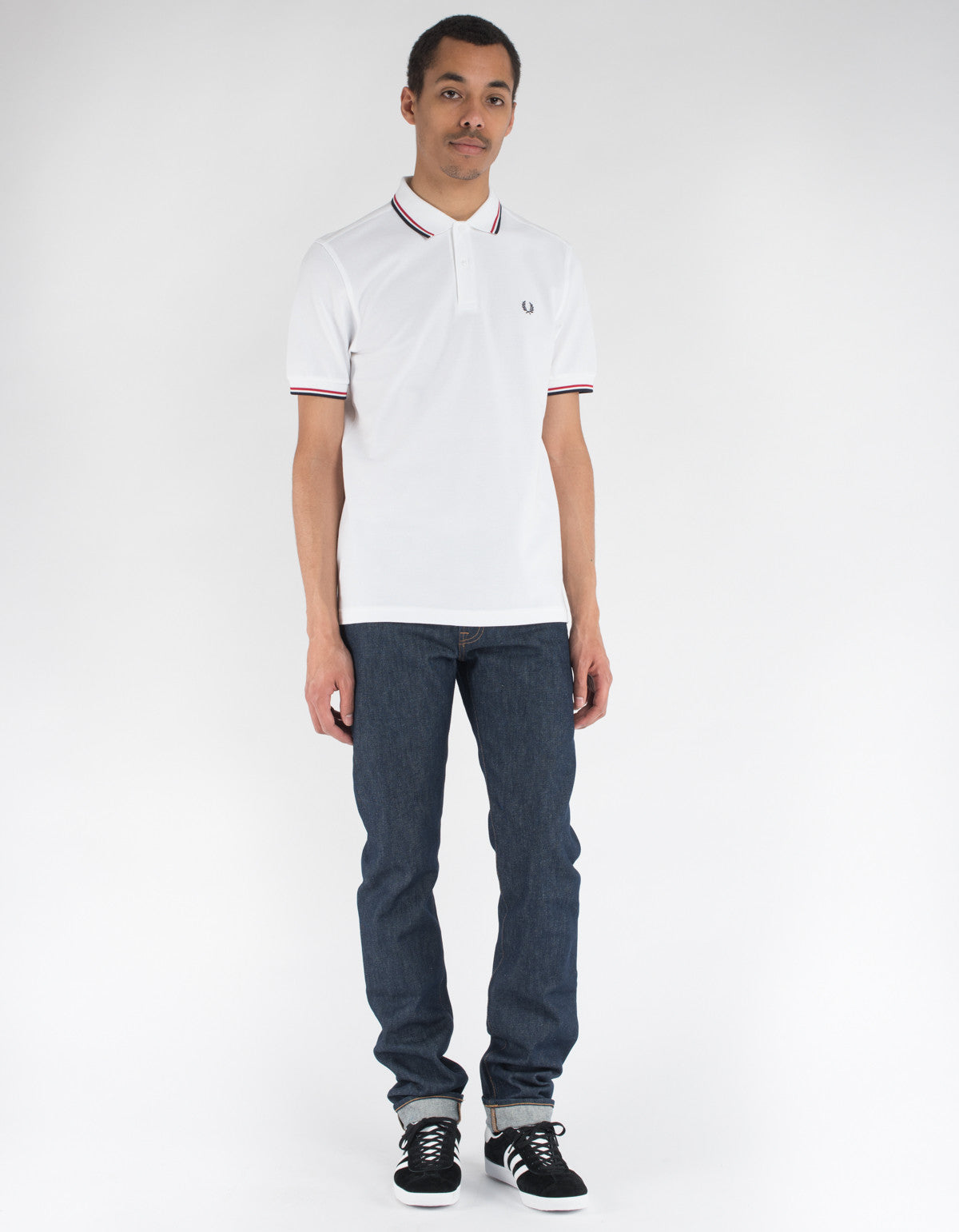 Fred Perry Slim Fit Twin Tipped Polo White Bright Red Navy