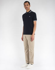 Fred Perry Slim Fit Twin Tipped Polo Navy White White