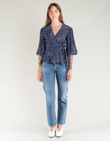Ganni Barra Crepe Wrap Blouse Total Eclipse