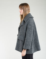 Ganni Boucle Wool Oversized Jacket Ebony Melange