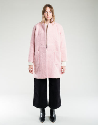 Ganni Boucle Wool Wrap Coat Silver Pink