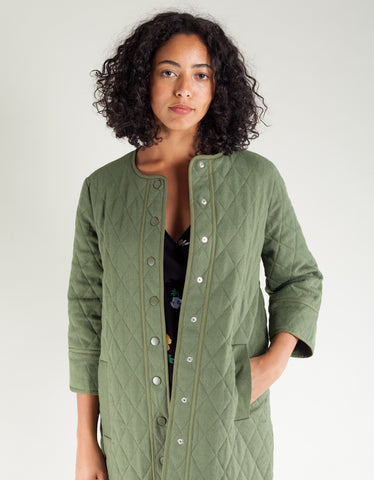 Ganni Camellia Quilted Jacket Army