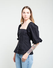 Ganni Cotton Poplin Blouse Black