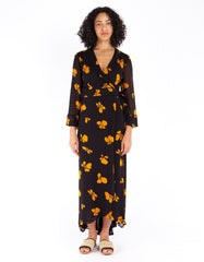 Ganni Fairfax Georgette Wrap Dress Black