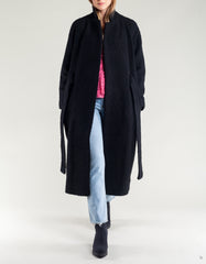 Ganni Fenn Long Wrap Coat Black