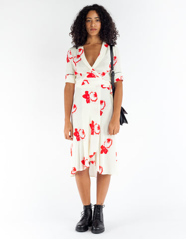 Ganni Harley Crepe Wrap Dress Vanilla Ice