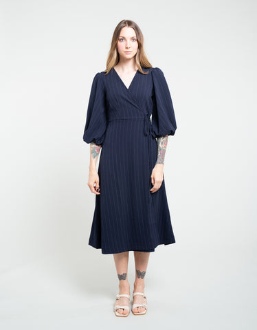 Ganni Heavy Crepe Wrap Dress Total Eclipse
