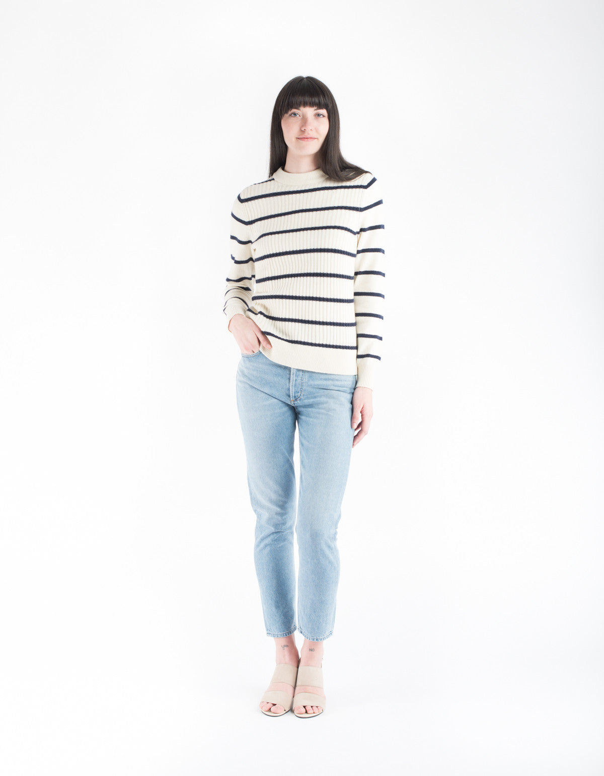 Ganni Mercer Striped Pullover Vanilla Ice Total Eclipse