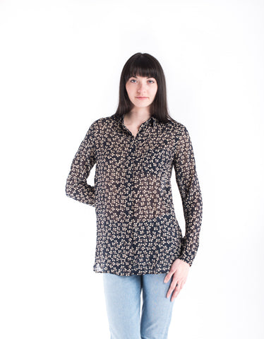Ganni Newman Georgette Shirt Total Eclipse