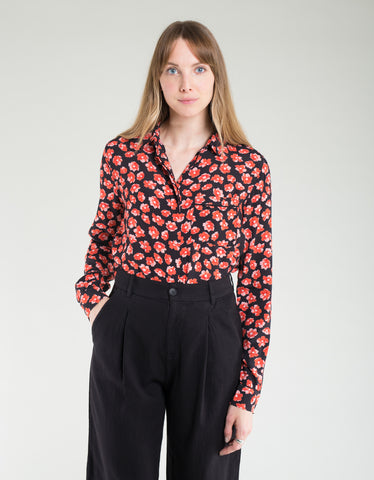 Ganni Printed Crepe Shirt Fiery Red