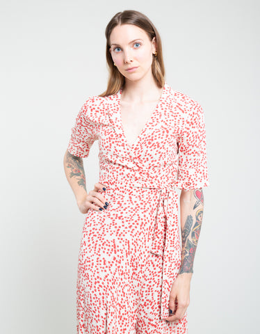 Ganni Printed Crepe Wrap Dress Egret