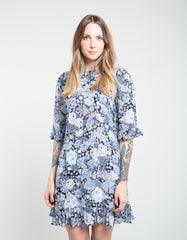 Ganni Printed Georgette Dress Heather