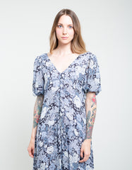 Ganni Printed Georgette Puff Sleeve Dress Heather