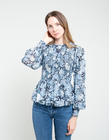 Ganni Printed Georgette Smock Blouse Heather