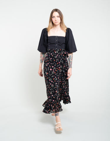 Ganni Printed Georgette Wrap Skirt Black