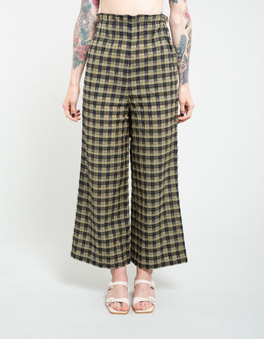 Ganni Seersucker Check Pants Aloe