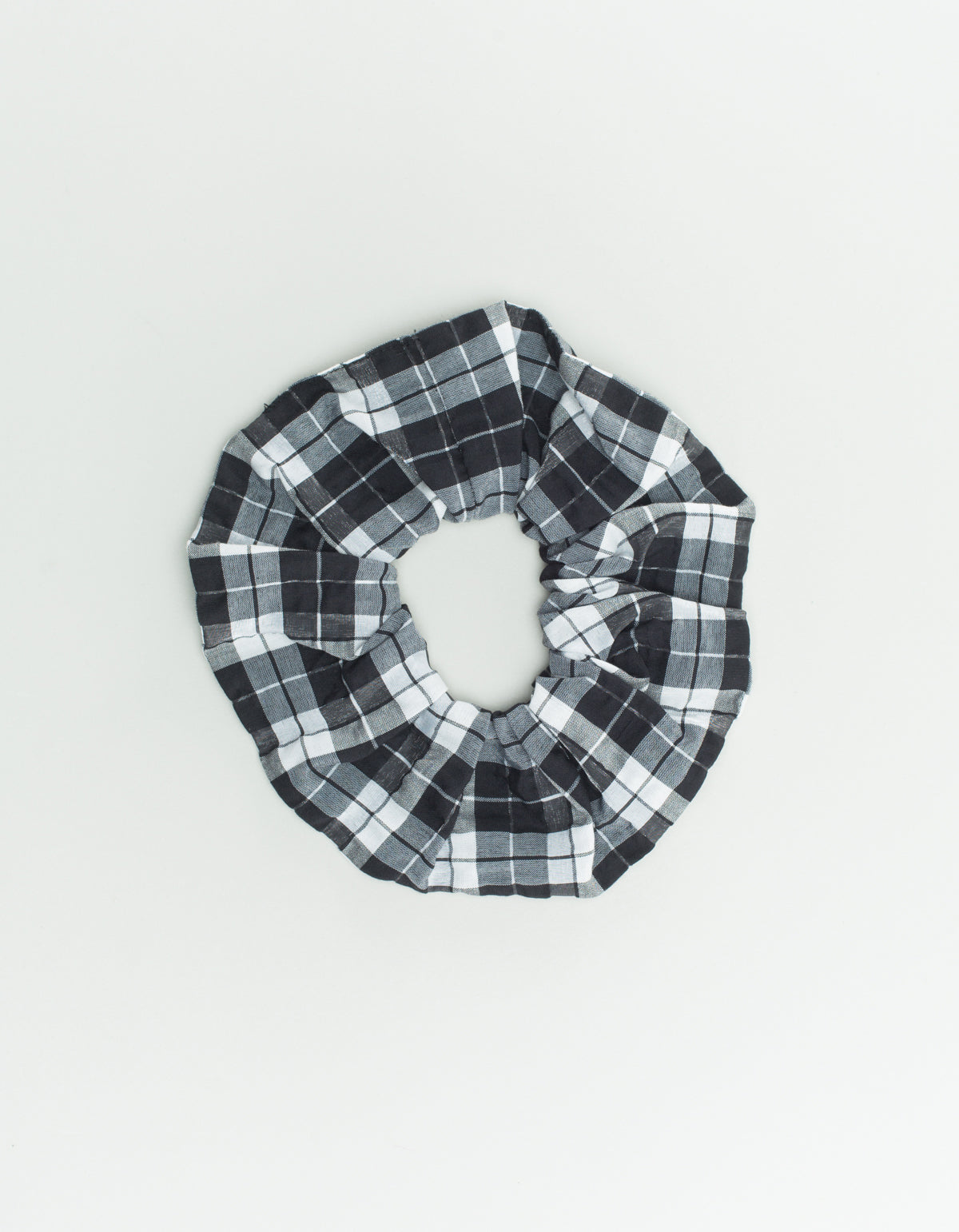 Ganni Seersucker Check Scrunchie Black