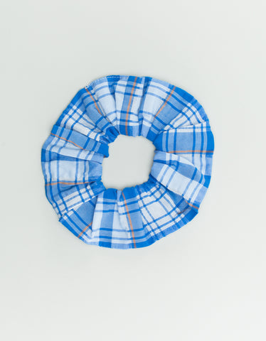 Ganni Seersucker Check Scrunchie Lapis Blue