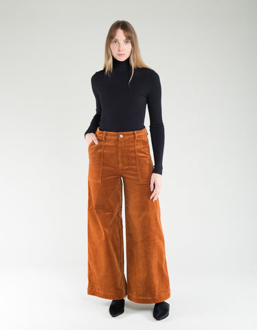Ganni Stretch Corduroy Wide Pants Caramel Cafe
