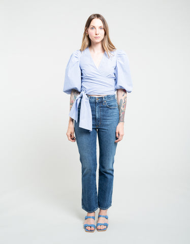 Ganni Striped Cotton Poplin Wrap Blouse Egret Estate Blue