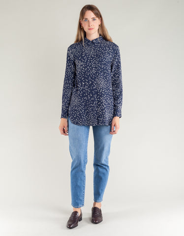 Ganni Barra Crepe Shirt Total Eclipse