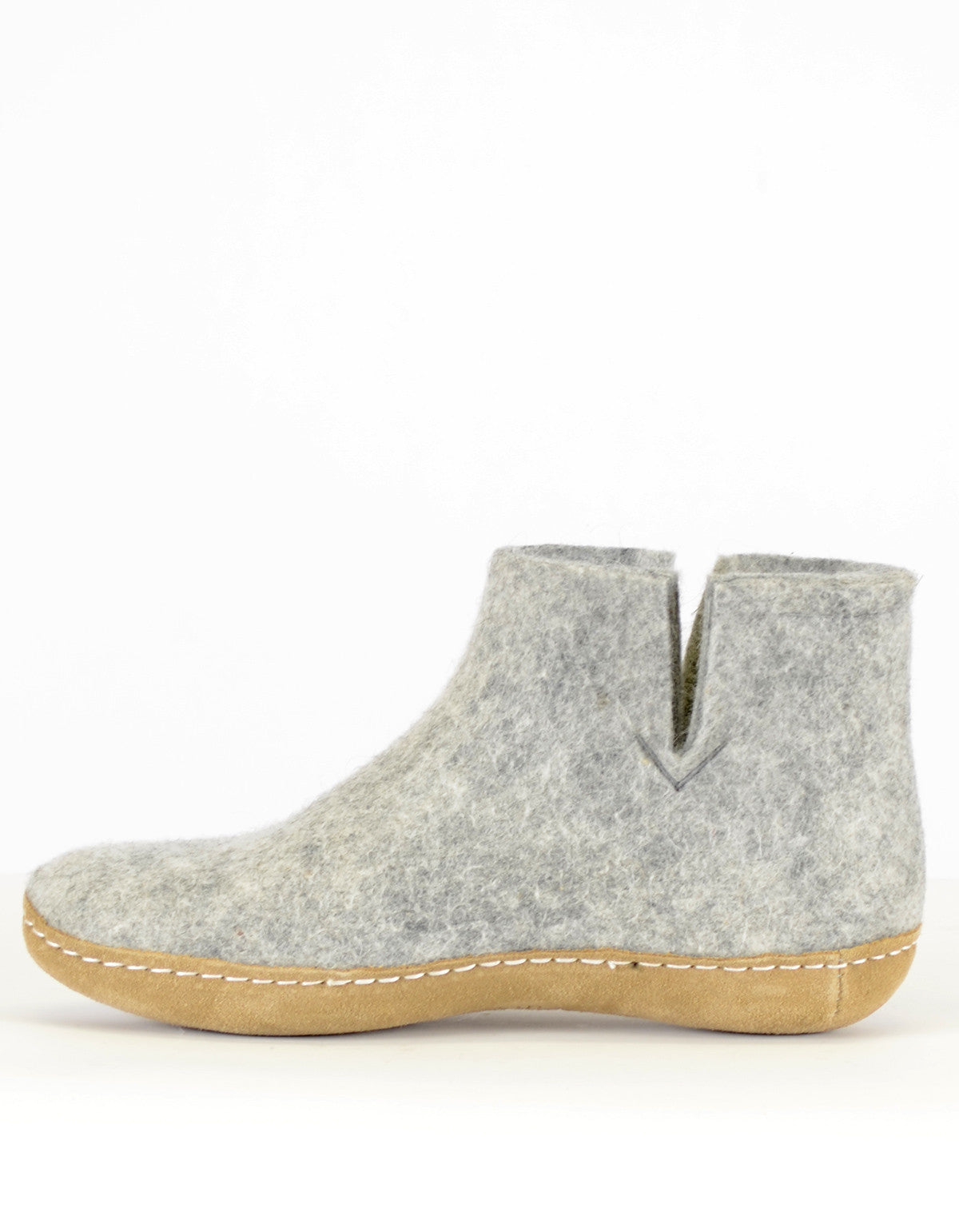 Glerups Women's Wool Boot Leather Sole Grey - Still Life - 2