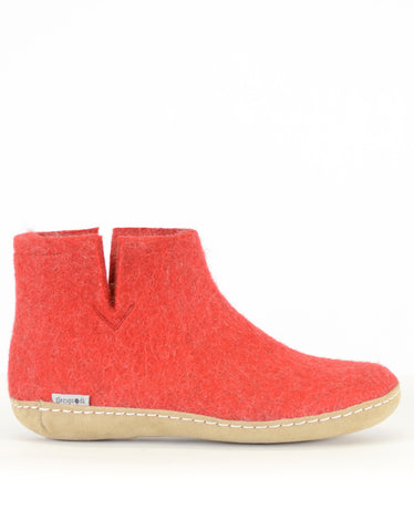 Glerups Women's Wool Boot Leather Sole Red - Still Life - 1