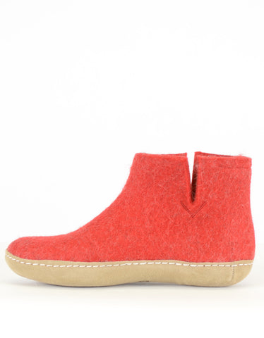 Glerups Women's Wool Boot Leather Sole Red - Still Life - 2