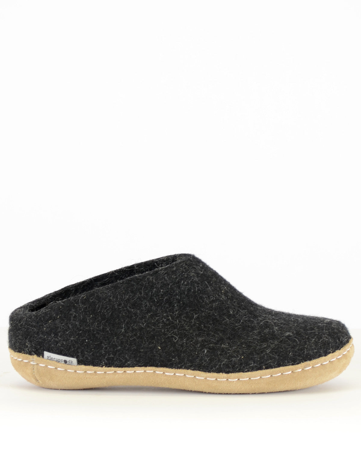 Glerups Women's Wool Slipper Leather Sole Charcoal - Still Life - 1
