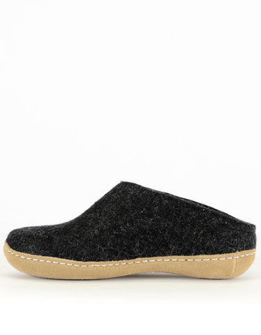 Glerups Women's Wool Slipper Leather Sole Charcoal - Still Life - 2