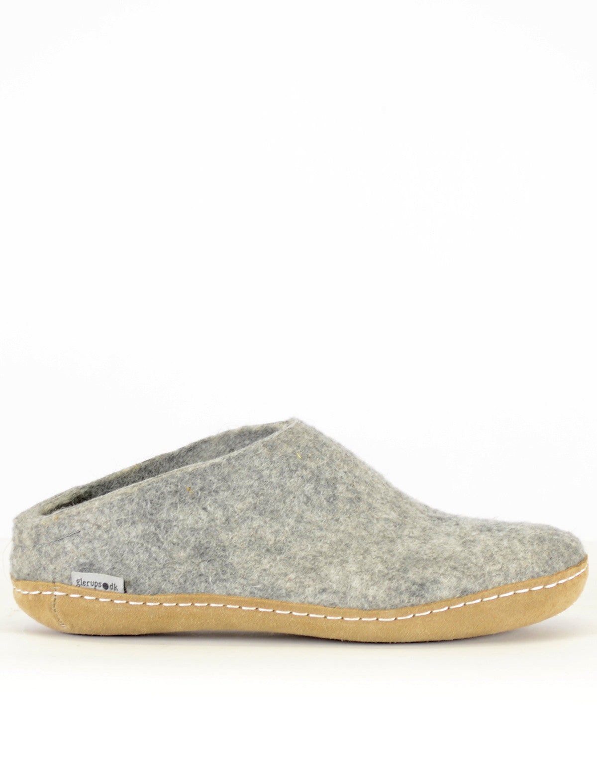 Glerups Women's Wool Slipper Leather Sole Grey - Still Life - 1