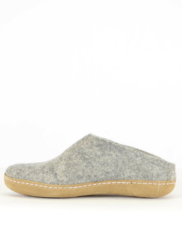 Glerups Women's Wool Slipper Leather Sole Grey - Still Life - 2