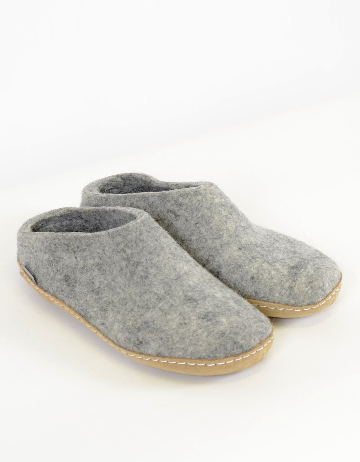 Glerups Women's Wool Slipper Leather Sole Grey - Still Life - 3