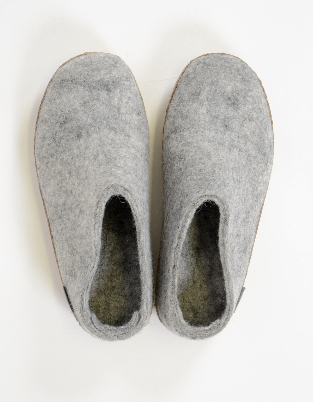 Glerups Women's Wool Slipper Leather Sole Grey - Still Life - 4