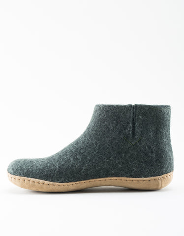 Glerups Women's Wool Boot Leather Sole Forest