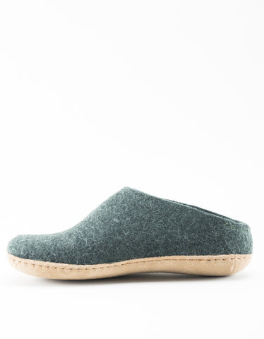 Glerups Wool Slipper Leather Sole Forest