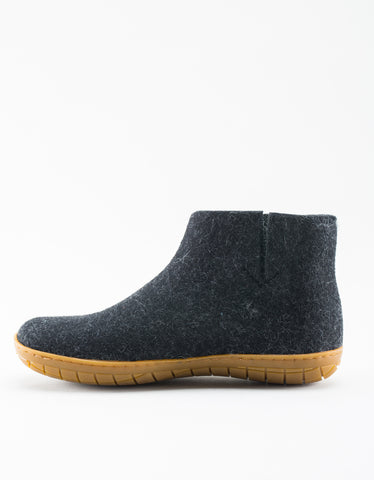 Glerups Women's Wool Boot Rubber Sole Charcoal