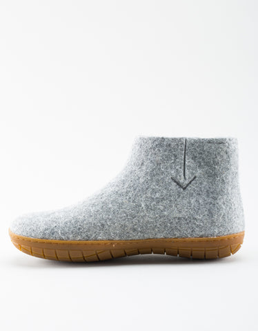 Glerups Men's Wool Boot Rubber Sole Grey