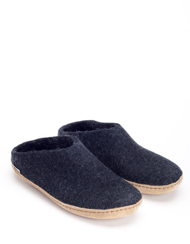 Glerups Men's Wool Slipper Leather Sole Charcoal