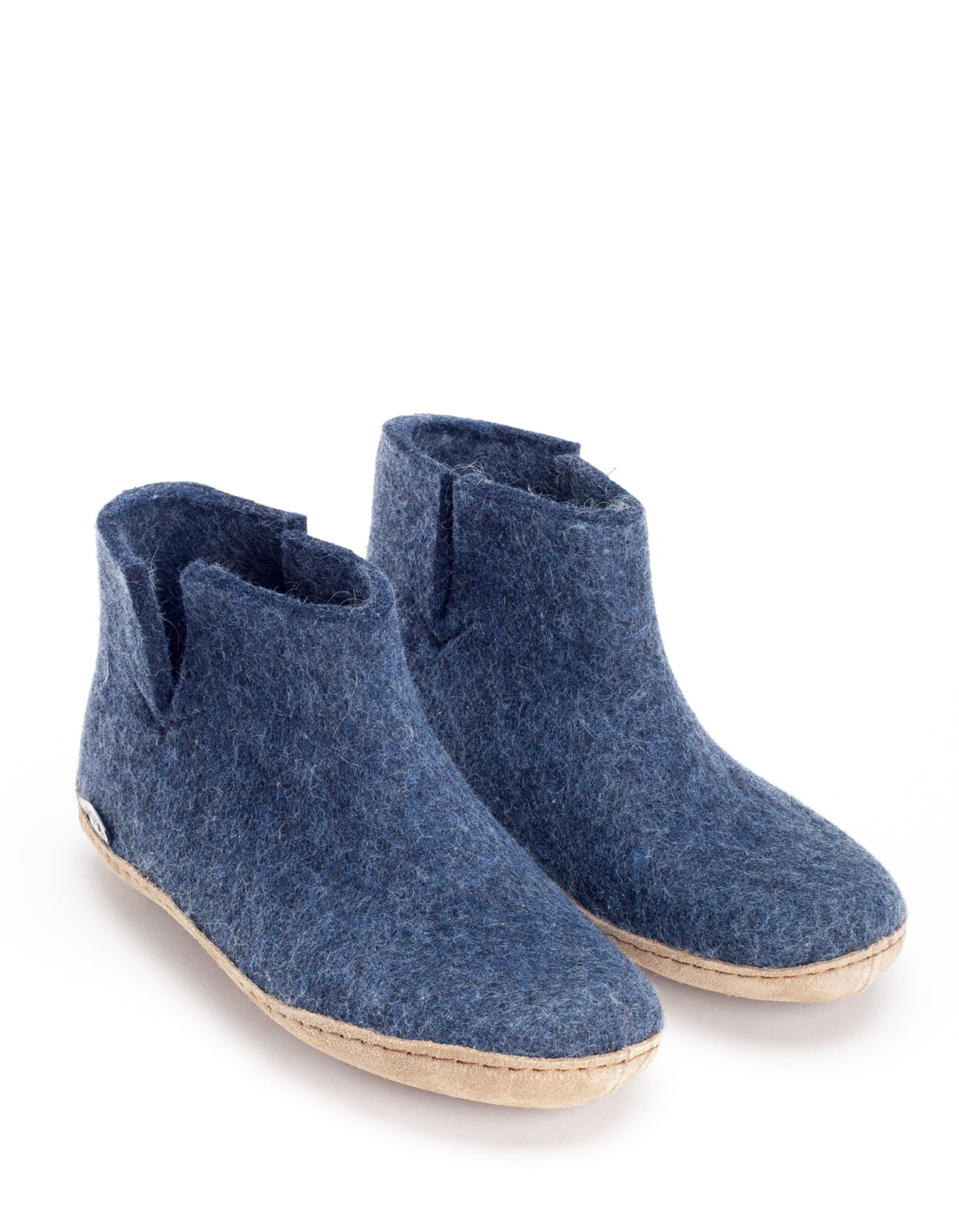 Glerups Wool Boot Leather Sole Denim