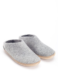Glerups Men's Wool Slipper Leather Sole Grey
