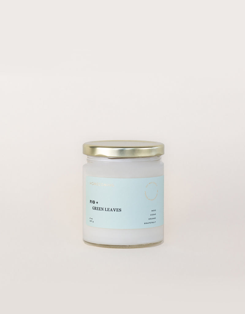 Homecoming Soy Wax Candle Fig + Green Leaves